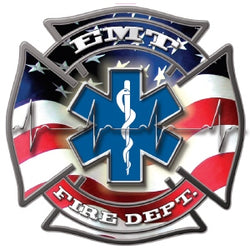 EMT Fire Dept Maltese & Star Decal