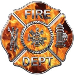 4x4 Inch Maltese Cross Inferno Flames Decal