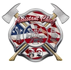 4x4 Inch Flag FD  Assistant Chief Decal