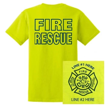 Fire Rescue Custom Safety Yellow Tshirt