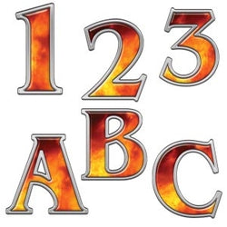 Real Fire Letters and Numbers Decal