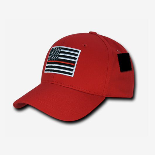 Thin Red Line Embroidered Red Hat