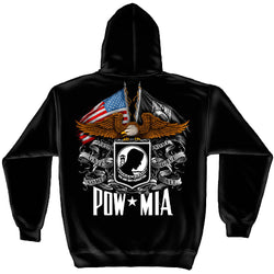 Military Hooded Sweat Shirt Flag Eagle POW MIA