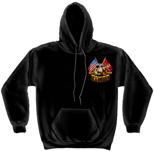 USMC Hooded Sweat Shirt Double Flag Gold Foil Sweatshirt