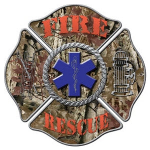 Camo Fire Rescue Maltese Decal