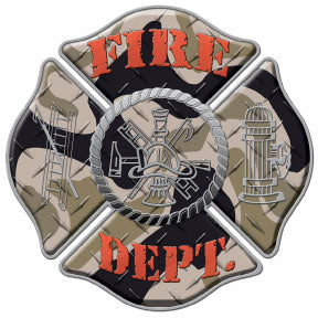 Camo Fire Dept Decal