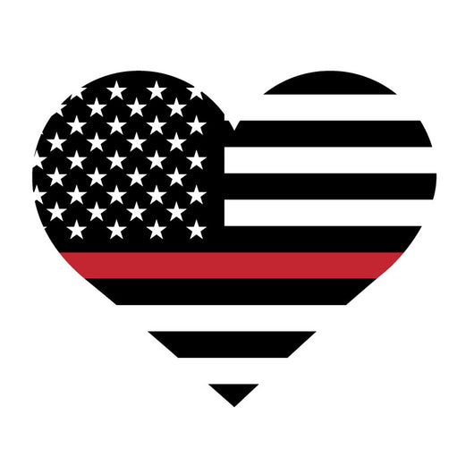 Thin Red Line Heart Decal