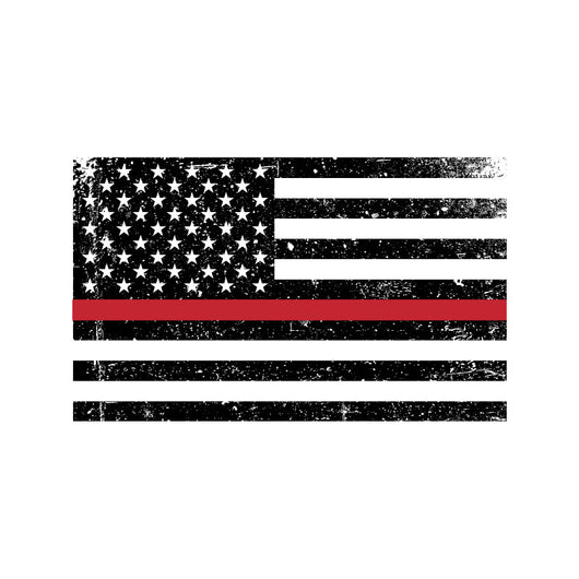 Thin Red Line Distressed Flag