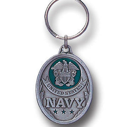 Navy Enameled Key Ring