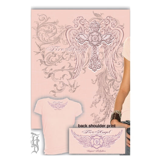 Pink Fire Angel Ladies T-shirt