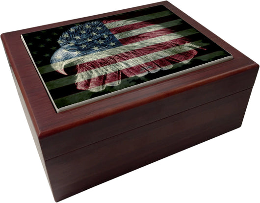 American Flag Firefighter Eagle Humidor