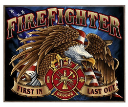 Firefighter Eagle Wood Photo Board