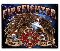Firefighter Eagle  Metal Sign