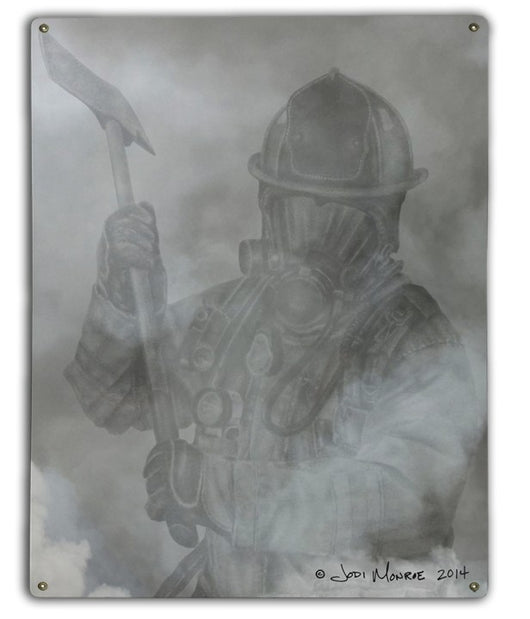 Firefighter in  Smoke Metal Sign