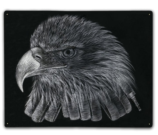 Black & White Firefighter Eagle Metal Sign