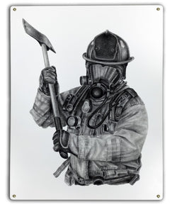 Black & White Firefighter Axe Metal Sign