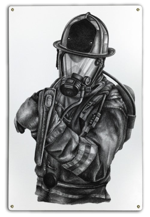 Black & White Firefighter Metal Sign