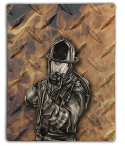 Diamond Plate Firefighter Metal Sign