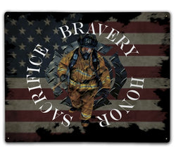 Sacrifice Bravery Honor Metal Sign