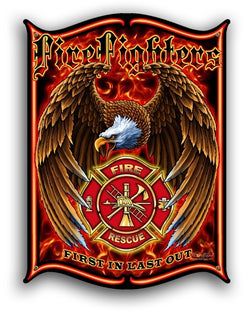 Firefighter 12x15 Vintage Metal Sign