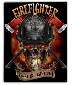 Firefighter Crossbones Metal Sign