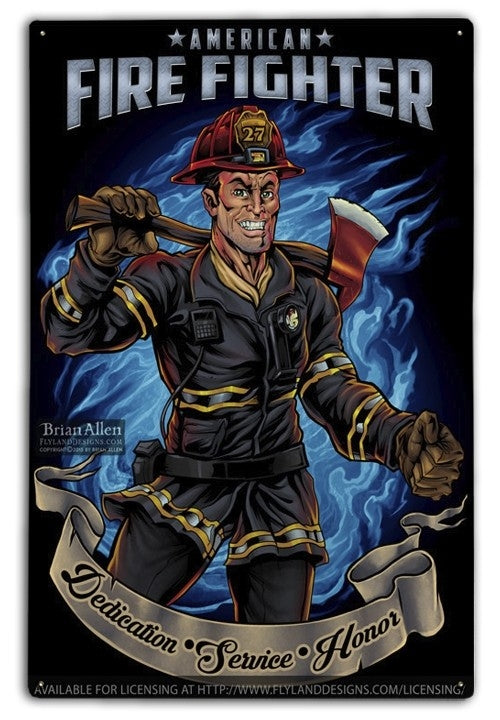 American Firefighter Metal Sign