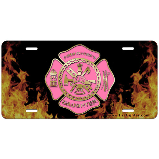 Pink Firefighters Daughter Lic Plate