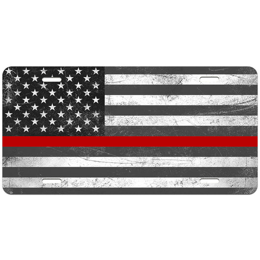 Thin Red Line Distressed Flag License Plate