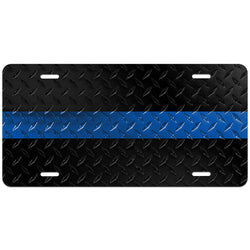 Thin Blue Line Diamond Plated License Plate