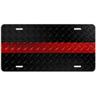 Thin Red Line Diamond Plated License Plate
