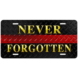 Thin Red Line Never Forgotten Diamond Plated License Plate