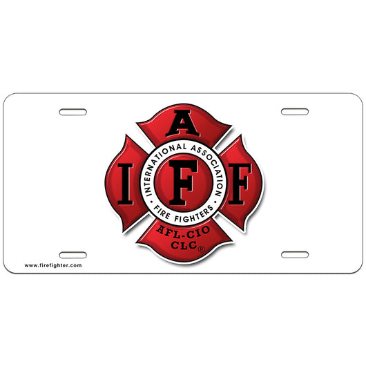 IAFF White License Plate
