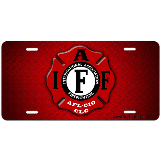 IAFF Red License Plate
