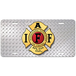 IAFF Diamond Plate License Plate