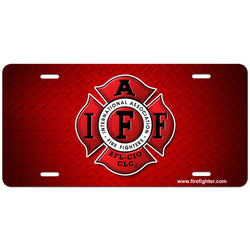 IAFF Red Diamond Plate License Plate