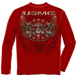 Long Sleeve USMC Pride Duty Honor Foil T-shirt