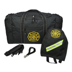 Black Firefighter Gear Bag SCBA and Strap Package