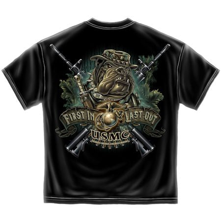 USMC First In Last Out Dog in Camo T-shirt