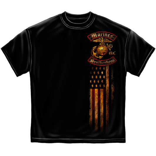 USMC BROTHERHOOD DISTRESSED GOLD FOIL SHIRT