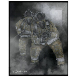 Two Firefighters In Battle Print