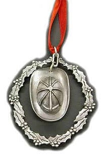 Pewter Helmet and Wreath Holdiay Ornament