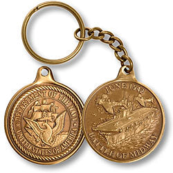 Battle of Midway Bronze Antique Keychain