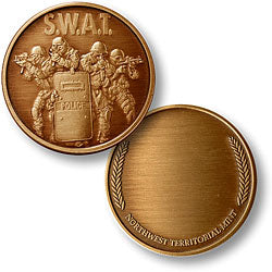 SWAT 4 with Wreath Bronze Antique Coin