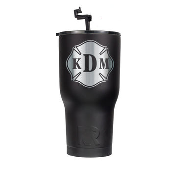 Black RTIC 30oz Cup With Custom Silver Maltese Decal