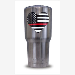 RTIC Tumbler with Thin Red Line Flag Heart Decal