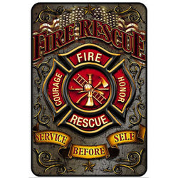 FIRE RESCUE METAL PARKING SIGN