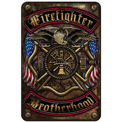 FIREFIGHTER DOUBLE FLAGGED  BROTHERHOOD METAL PARKING SIGN