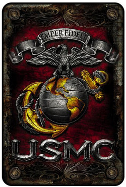 USMC-SEMPER FIDELIS METAL PARKING SIGN