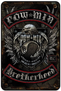 POW MIA BIKER WITH ROCKERS METAL PARKING SIGN