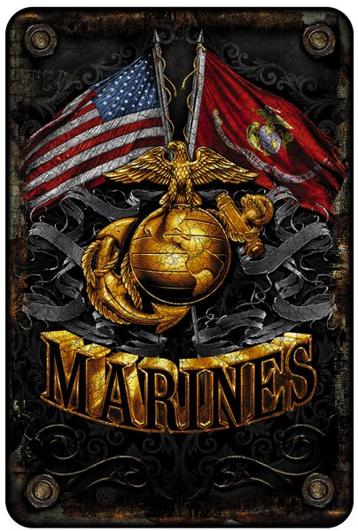 DOUBLE FLAG GOLD GLOBE MARINE CORPS METAL PARKING SIGN